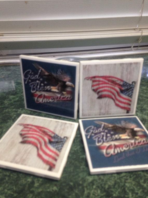 America Ceramic Tile Coasters