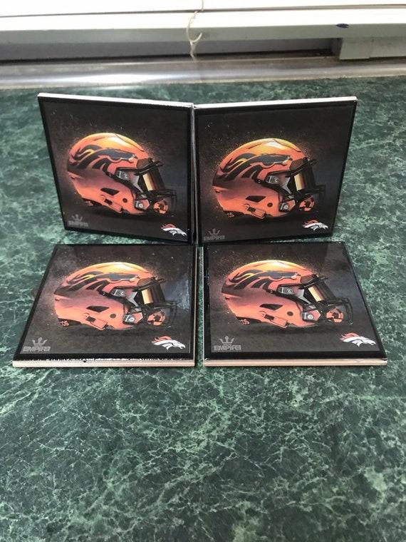 Broncos football cersmic tile coasters