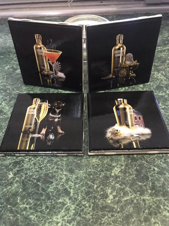 Absolut Gold Ceramic Tile Coasters