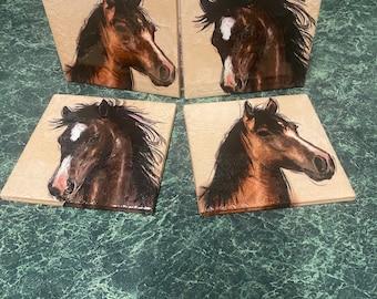 Horsing Around ceramic tile coasters