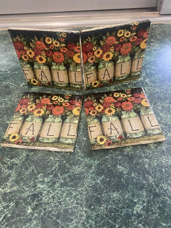 Fall Ceramic Tile Coasters