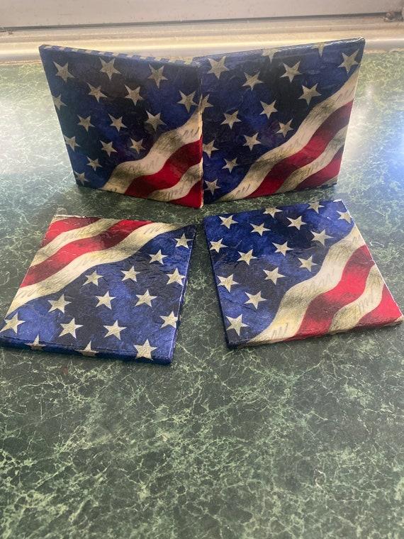 USA flag ceramic tile coasters