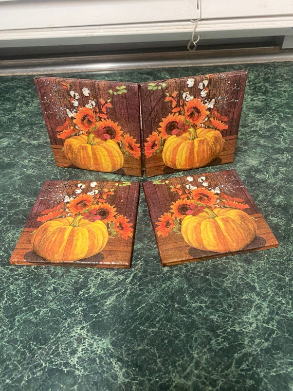 Fall festival ceramic tile coasters with cork back