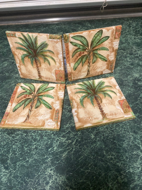 Palm Tree Paradise tile coasters