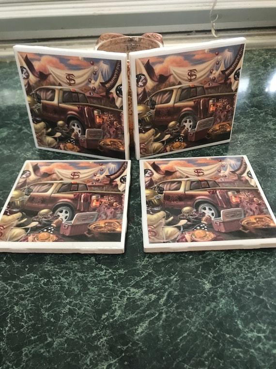 FSU tailgate ceramic tile coasters