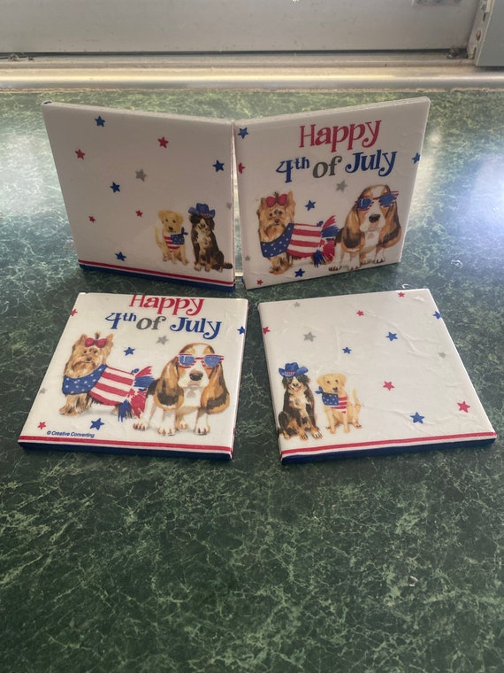Happy Fourth of July ceramic tile coasters