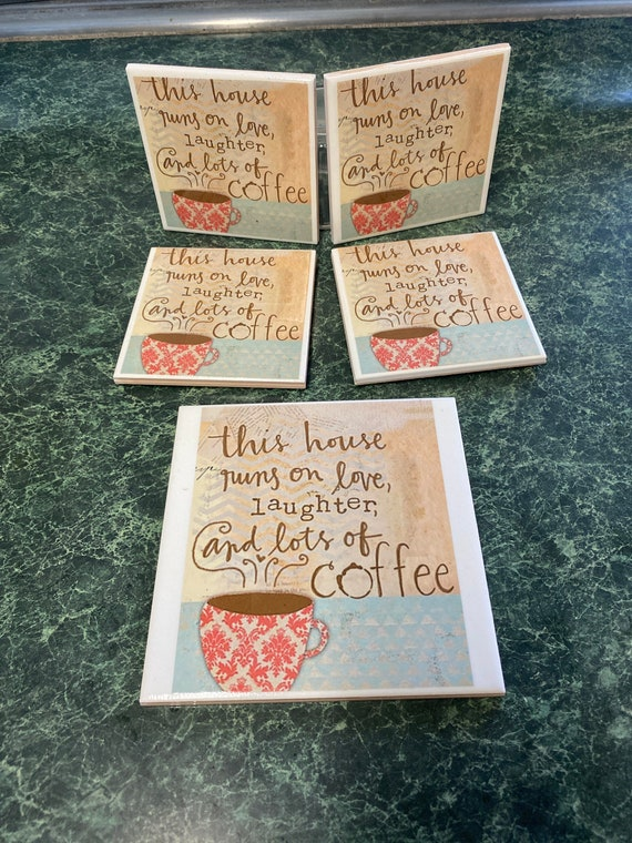 Love, Laughter and Coffee Coasters with decorative trivit
