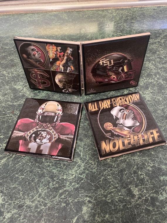 Seminoles football ceramic tile coasters