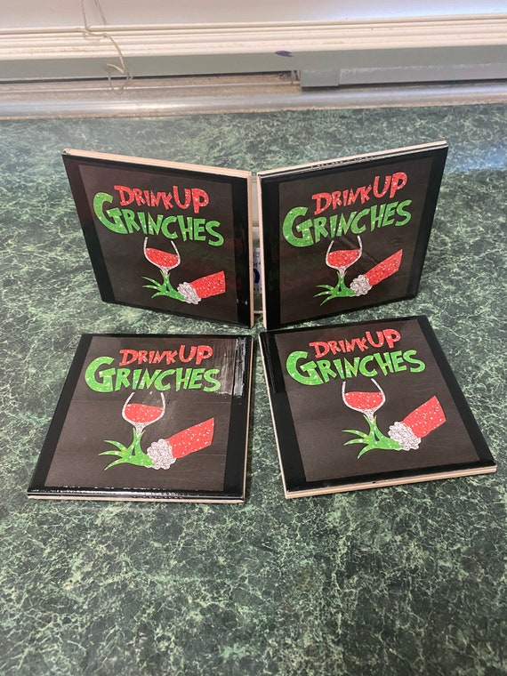 Drink up grinches its Christmas ceramic tile coasters