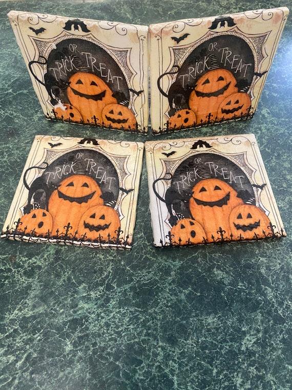 Trick or Treat ceramic tile coasters