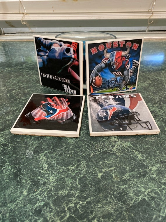 Texans ceramic tile coasters