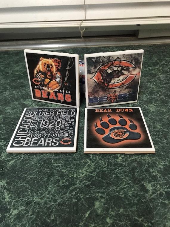 Bears Football ceramic tile coasters
