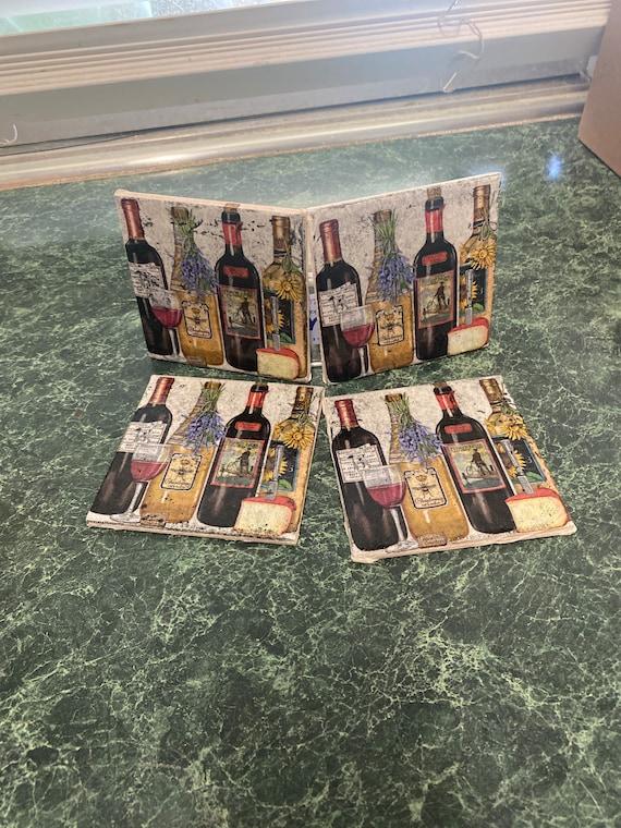 Wine and Cheese napkin coasters