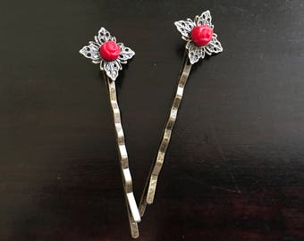 Red Rose Hair Pin Pair
