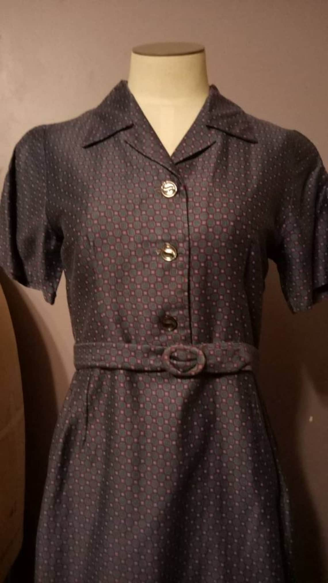 1950's Three Piece Day Dress Proper Vintage Lady Pin-up