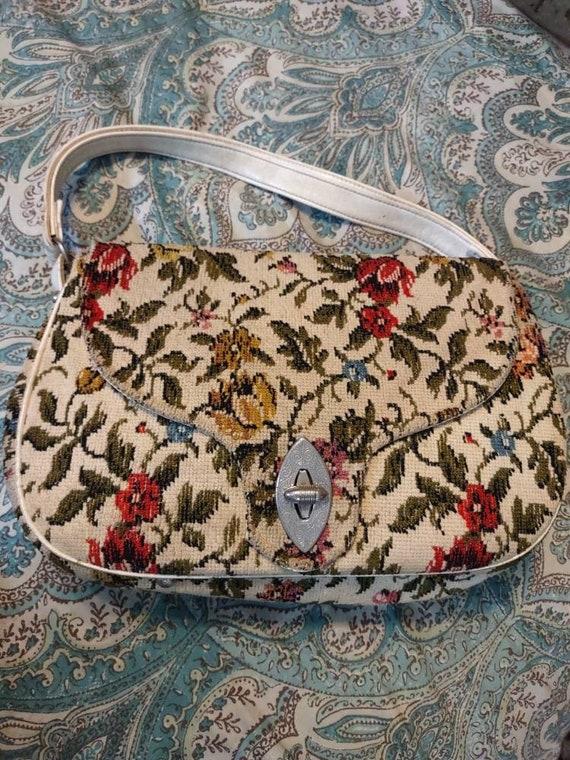 Carpet Brocade Vintage Purse Handbag Pocketbook T… - image 1