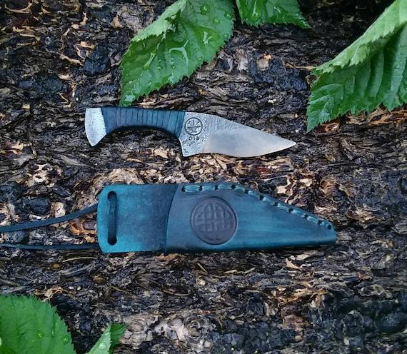 Utility neck knife hand forged handmade