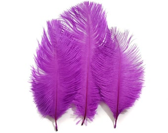 10 Pieces 6-8 Inches Rose Purple Ostrich Feathers