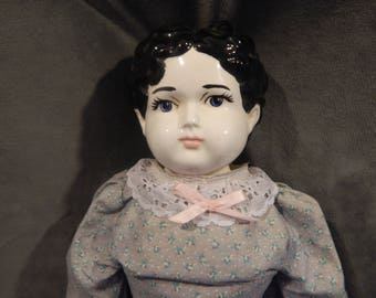 Antjique/Vintage Reproduction China Head Low Brow Doll 23''