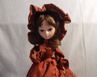 Vintage Red Dress  Bradley Doll with Pearl Nicklace