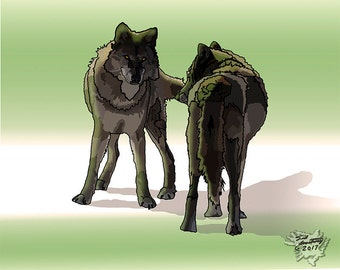 """10""""X 8"""" Wolf painting, wolf print, two wolves, Nature wolves, Wolf, digital art, Native American art, Indian Art, free shipping"""