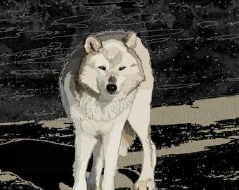 "10""X 8"" Wolf painting, wolf print, White wolf, Nature wolf, Wolf, digital art, Native American art, Indian Art, free shipping"