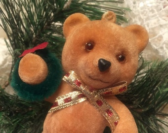 FLOCKED TEDDY BEAR Christmas Ornament