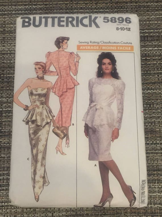 BUTTERICK PATTERN 5896 COUTURE Dress and Top Size 8-10-12 | Etsy