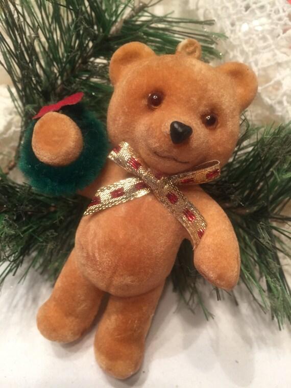 e832ae3324 FLOCKED TEDDY BEAR Christmas Ornament