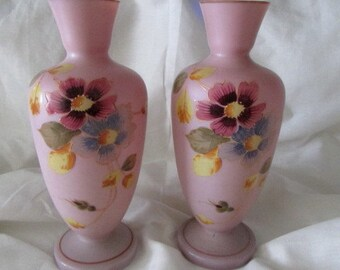 Pair VICTORIAN BRISTOL VASES Antique pink glass Hand painted flowers G D