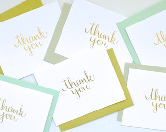 Gold Foil Calligraphy Thank You Note