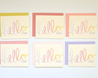 Hello There Card Set with Multicolored Envelopes