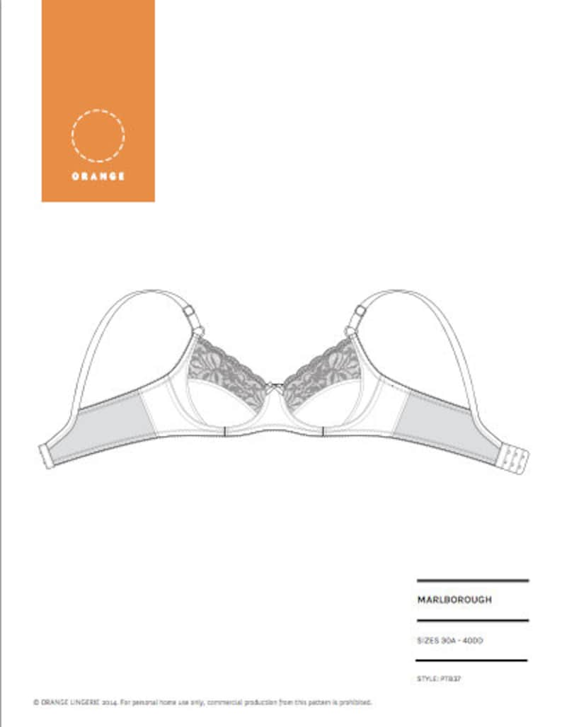 Instant Download PDF lingerie sewing pattern for an underwire image 0