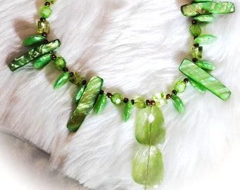 Green Goddess Beaded Shell Necklace