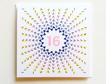 Sweet 16 card etsy sweet 16 birthday card sweet sixteen gift birthday cards for girl teenager birthday card greeting card geometric design card daughter m4hsunfo