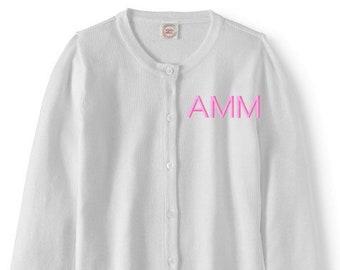 e0b37bad38 Monogrammed Sweater Kids Child Cardigan Monogram Uniform Navy Pink Red White