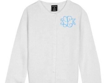 Monogrammed Sweater Kids Child Girls Cardigan Monogram Uniform White Navy Pink Red