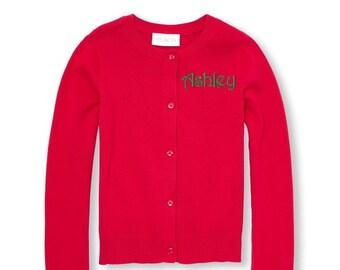 3d9fc854f0 Monogrammed Sweater Kids Child Girls Cardigan Monogram Uniform Red Pink