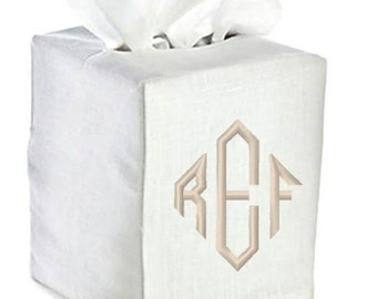 Linen Tissue Box Cover Monogrammed White Natural Bath Monogram