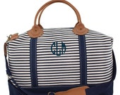Monogrammed Weekend Luggage Tote Bag Overnight Canvas Stripe Weekender