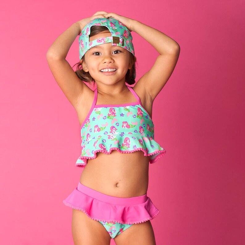 919d77303040d Monogrammed Girls Bikini Swimsuit Ruffle Toddler Mermaid | Etsy