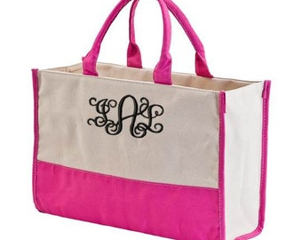 Monogrammed Canvas Tote Bag Utility Beach Tote Teacher Travel Bag
