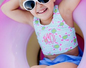 Monogrammed Girls Bikini Swimsuit Ruffle Toddler Bathing Suit