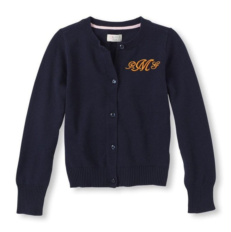 3614f51b73 Monogrammed Sweater Kids Child Girls Cardigan Monogram Uniform