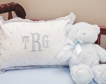 Monogrammed Baby Pillow Crib Nursery Pink Blue White Shower Gift Boudoir
