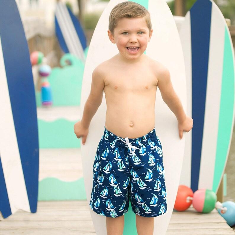 66dae92845 Monogrammed Swim Trunks Boys Toddler Shorts Swimsuit Kids | Etsy