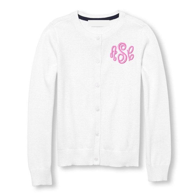 321addea7345 Monogrammed Sweater Kids Child Girls Cardigan Monogram Uniform