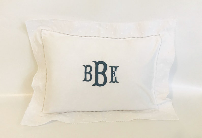 Monogrammed Baby Pillow Crib Nursery Pink Blue White Shower image 0