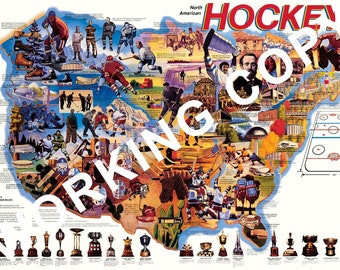 Pro Hockey of North America Wall Map