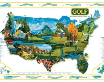 Golf of North America Wall Map